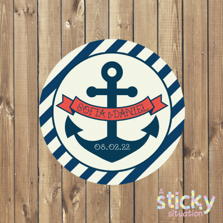 Personalised Wedding Stickers - Nautical Anchor Design